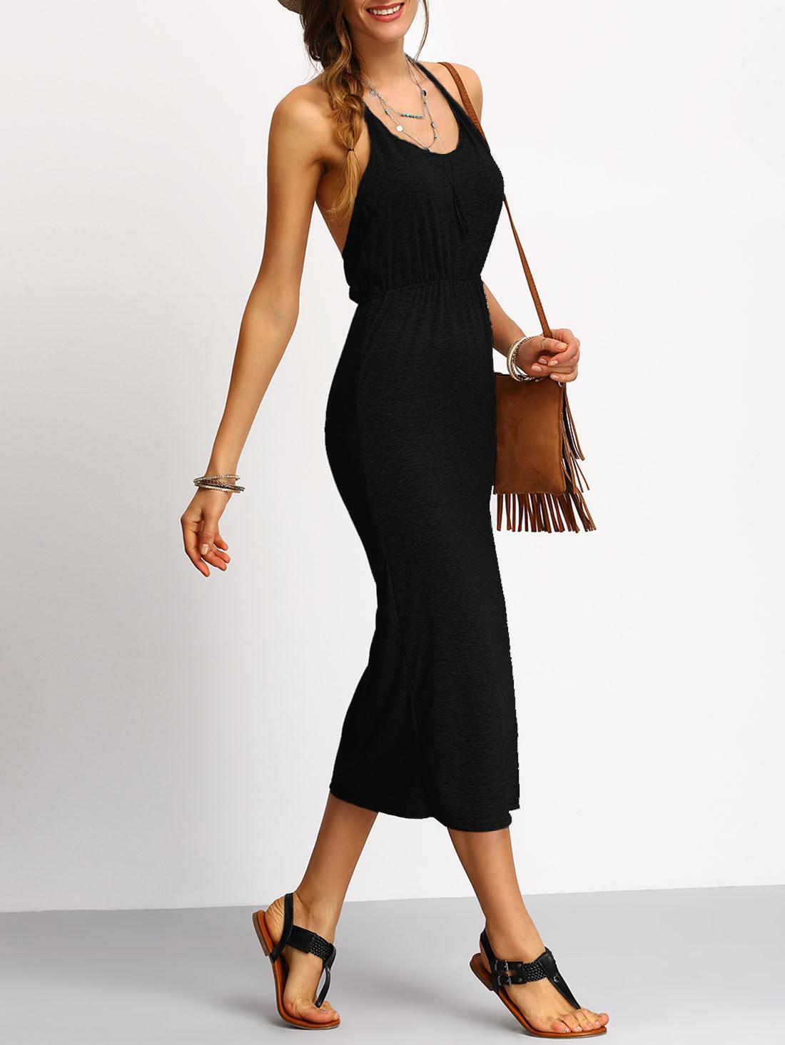 все цены на Halter Backless Slit Pencil Dress