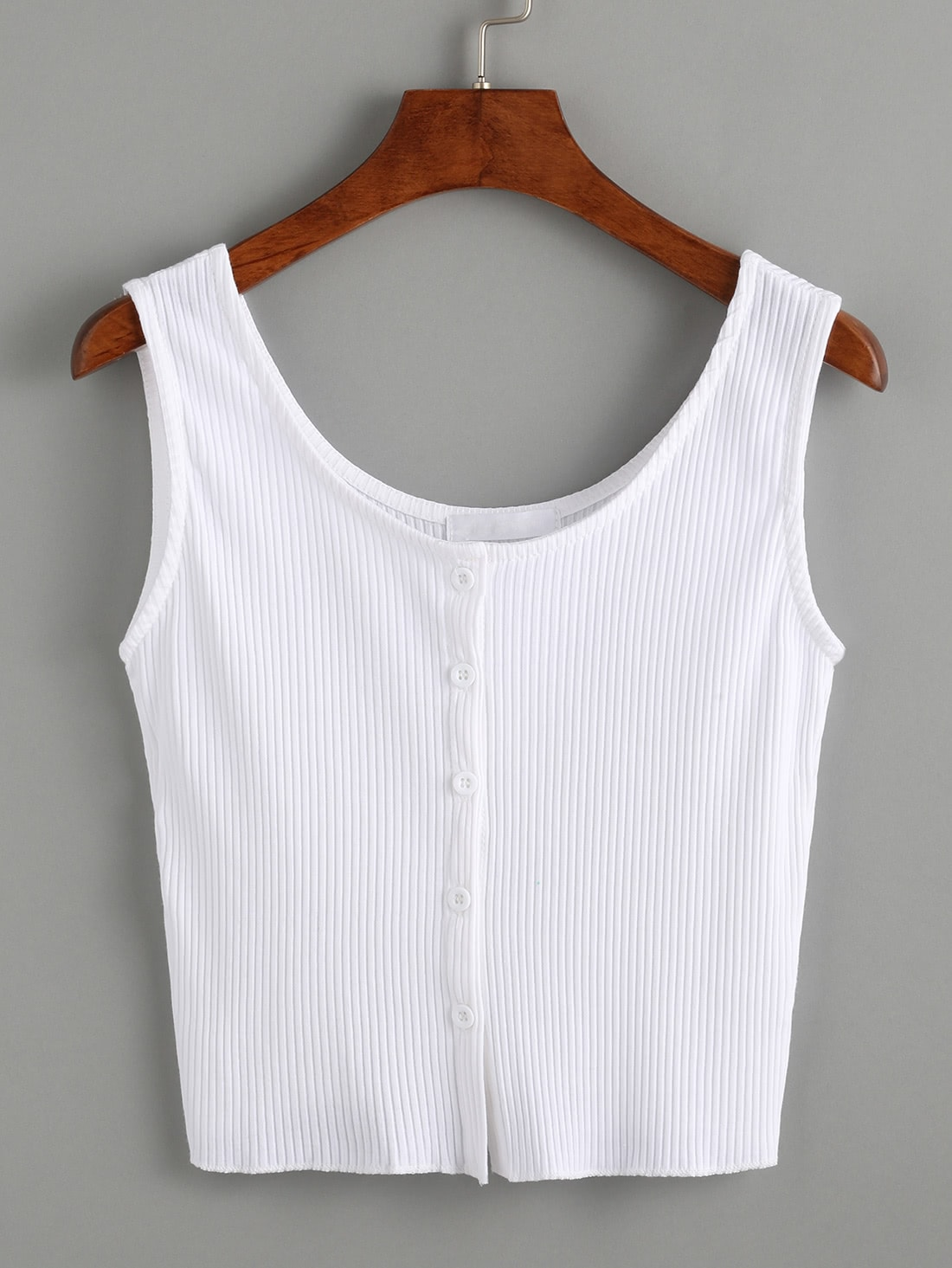 White Buttoned Front Ribbed Knit Crop Tank Top vest160609001
