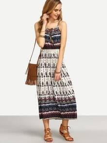 Spaghetti Strap Aztec Print Beach Dress