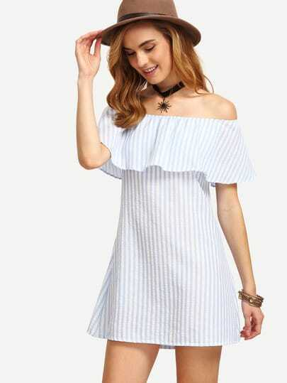 Off The Shoulder Vertical Striped A-line Dress