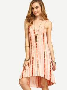 Spaghetti Strap High Low Tie-dye Dress