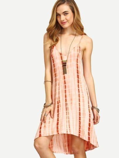 Spaghetti Strap High Low Tie-dye Dress