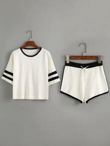 Contrast Striped Trim Top With Drawstring Shorts