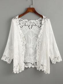 White Lace Crochet Embroidered Hollow Out Top