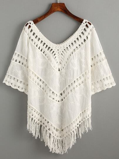 V Neck Hollow Out Fringe Shirt