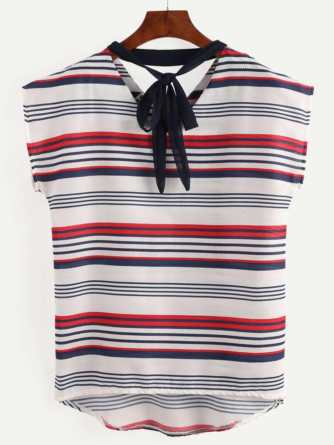 Striped Tie Neck Dip Hem Shirt Shein Sheinside
