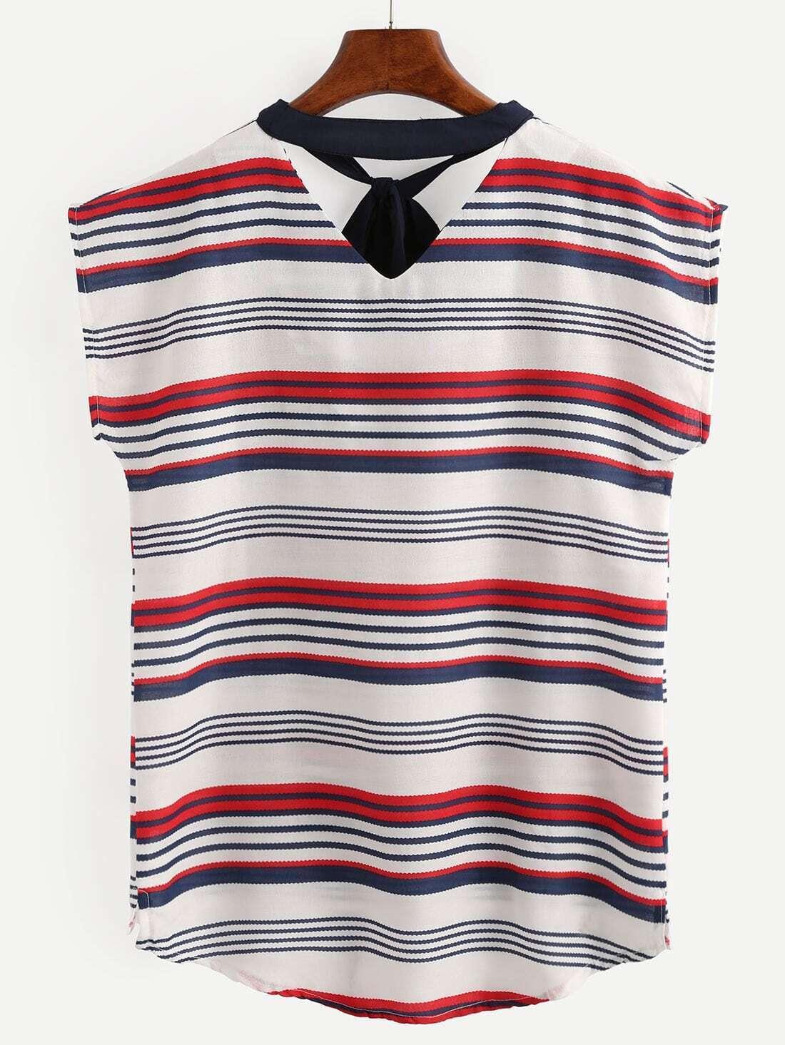 Striped tie neck dip hem shirt shein sheinside for Striped tie with striped shirt