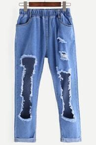 Elastic Waist Destroyed Skinny Jeans