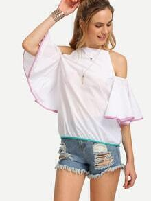 White High Neck Cold Shoulder Bell Sleeve Top