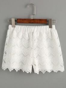 White Crochet Overlay Elastic Waist Shorts