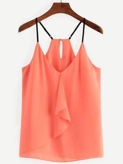 Orange Ruffled Keyhole Racerback Chiffon Cami Top