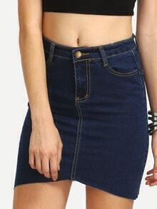 Blue Denim Raw Hem Pencil Skirt