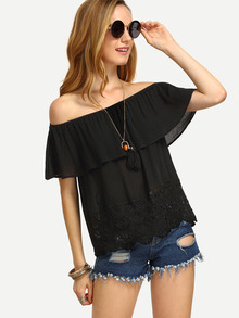 Black Off The Shoulder Tassel Blouse