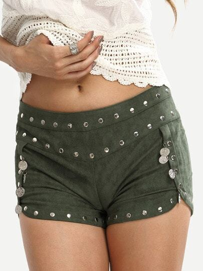 Army Green Zipper Metal Decorated Shorts