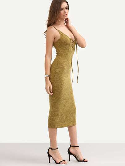 Mustard Yellow Spaghetti Strap Lace-up Backless Sheath Dress