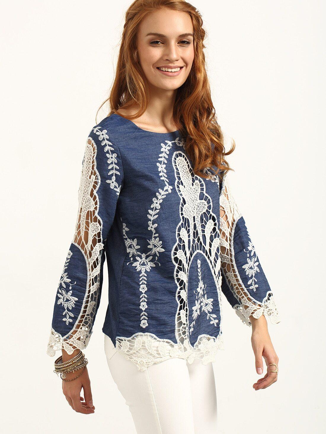 blouse manche longue avec broderie french shein sheinside. Black Bedroom Furniture Sets. Home Design Ideas