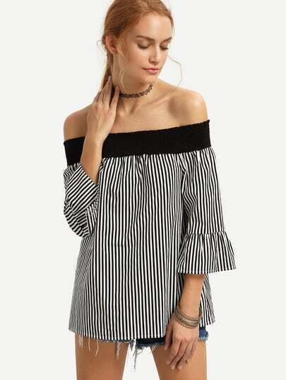 Black and White Striped Off The Shoulder Blouse
