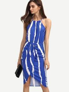 Royal Blue Striped Sleeveless Tie Back Asymmetrical Dress