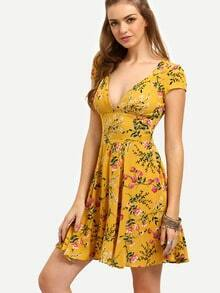 Yellow Floral V Neck Cutout Dress