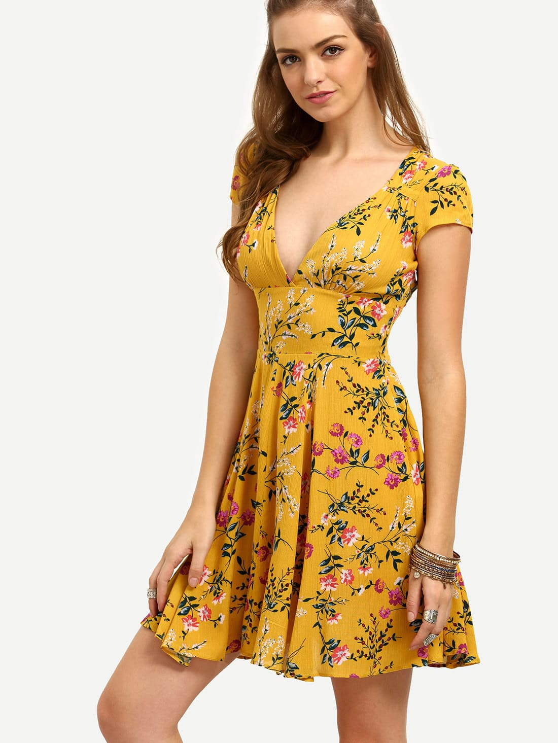 floral cut out back empire flare dress sheinsheinside