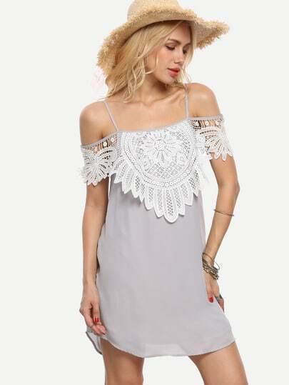 Grey Crochet Layered Cold Shoulder Slip Dress