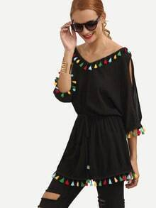 Black Split Sleeve Colored Tassel Trim Blouse