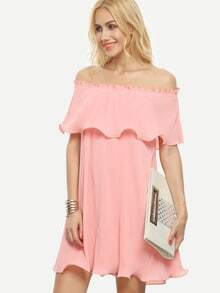 Pink Ruffle Layered Cold Shoulder Shift Dress