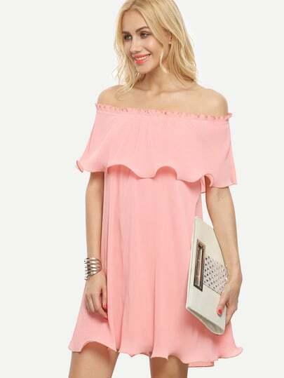 Pink Ruffle Layered Cold Shoulder Shift Dress