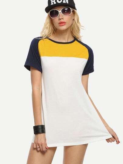 Color-block Raglan Sleeve Tshirt Dress