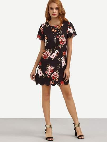 Multicolor Floral Print Scallop Trim Shift Dress