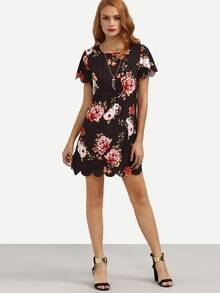 Multicolor Floral Print Scallop Trim Shift Dress