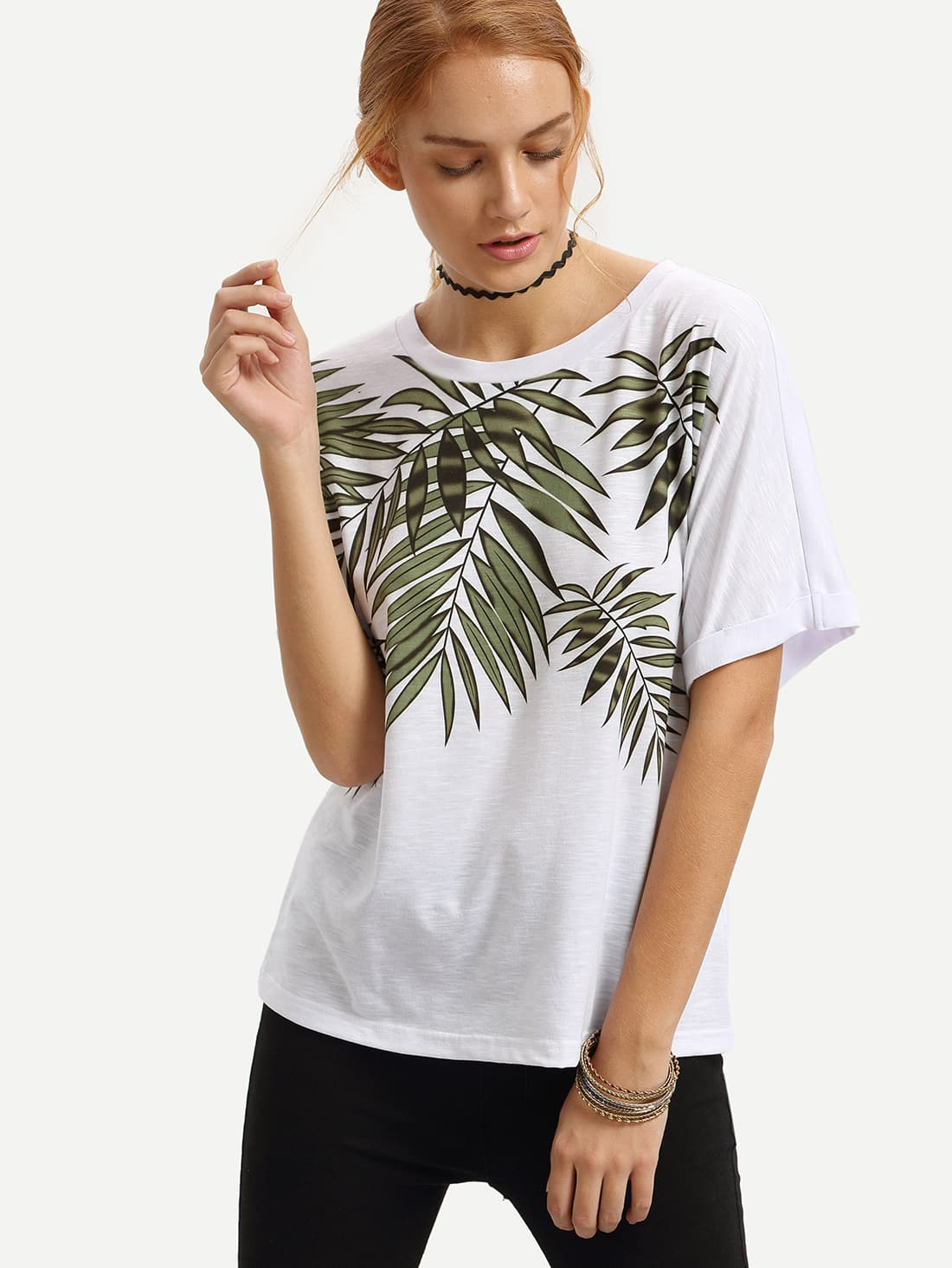 White bamboo print rolled up t shirt shein sheinside for Bamboo t shirt printing