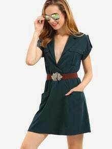 Army Green Pockets Epaulet Sleeve Dress