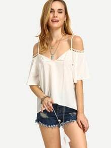White Cold Shoulder Hollow Insert Convertible Strap Blouse