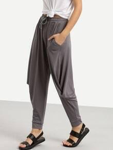 Grey Pockets Drawstring Waist Twisted Sloth Pant