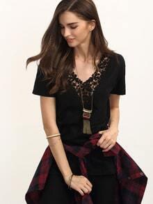 Black Crochet V Neck Casual T-shirt