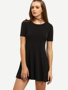 Black Round Neck Casual Shift Dress