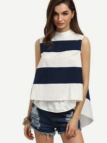 Navy White Striped Mock Neck Swing Top
