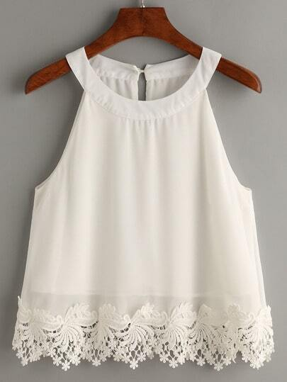 White Lace Trimmed Halter Neck Top