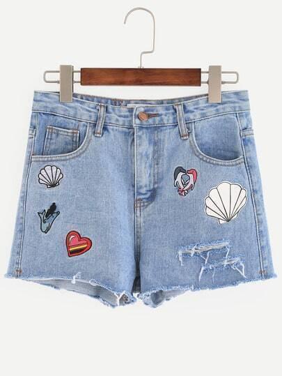 Blue Embroidered Raw Hem Denim Shorts