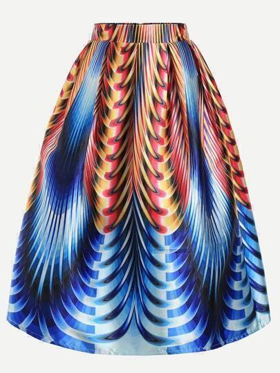 Multicolor Printed Box Pleated Skirt