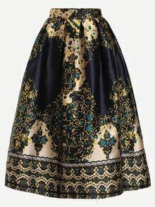 Navy Vintage Print Box Pleated Skirt