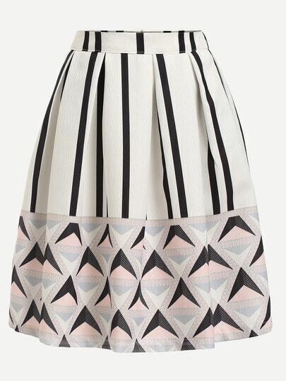 White Geometric Print Box Pleated Skirt