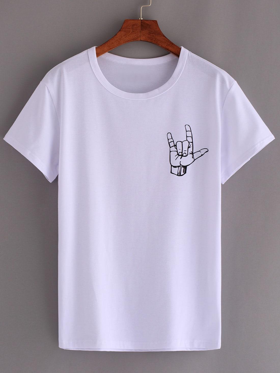 Фото Love Gesture Print T-shirt. Купить с доставкой