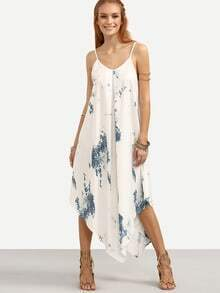 White Abstract Print Asymmetric Cami Dress