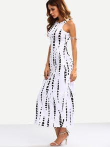 White Abstract Print Cutout Tank Dress