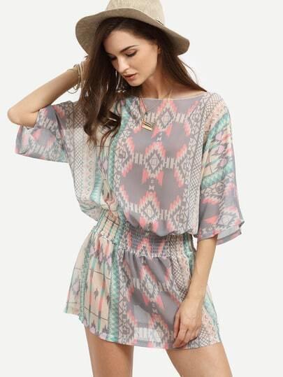 Multicolor Geometric Print Shirred Waist Chiffon Dress
