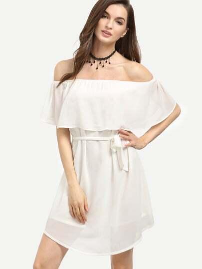 White Flounce Off The Shoulder Dress