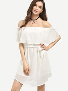 White Flounce Off The Shoulder Dress