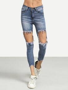 Blue Distressed Raw Hem Skinny Jeans